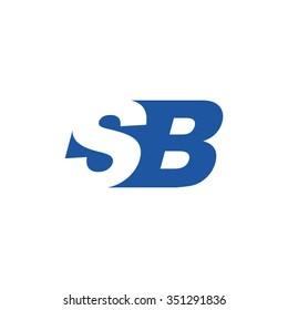 SB negative space letter logo blue