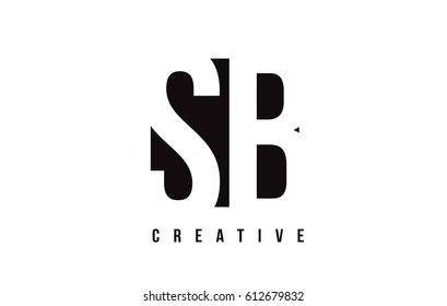 SB S B White Letter Logo Design with Black Square Vector Illustration Template.