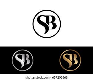 Sb text gold black silver modern creative alphabet letter logo design vector icon