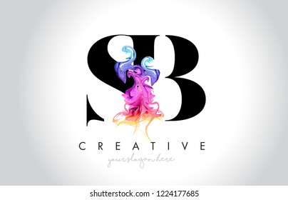 SB Vibrant Creative Leter Logo Design with Colorful Smoke Ink Flowing Vector Illustration.