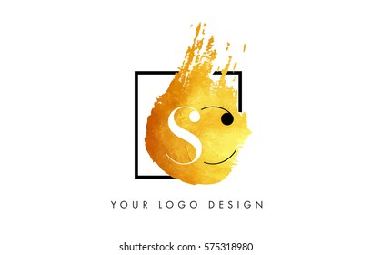 SC Gold Letter Brush Logo. Golden Painted Watercolor Background with Square Frame Vector Illustration.