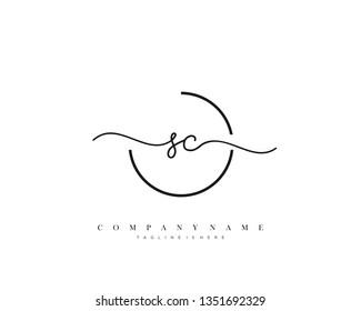 SC initial handwriting logo template vector