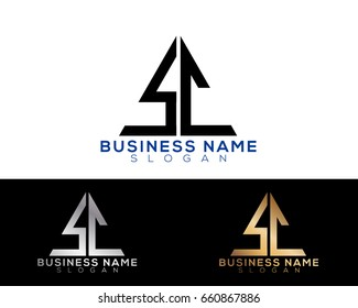 sc initial letters linked triangle shape logo