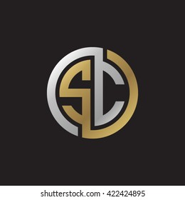 SC initial letters looping linked circle elegant logo golden silver black background
