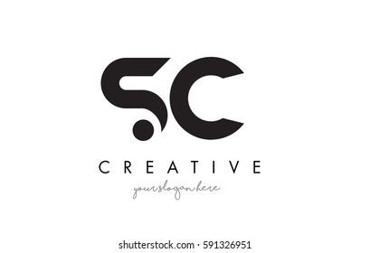 SC Letter Logo Design with Creative Modern Trendy Typography and Black Colors.