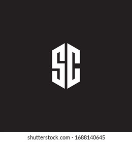 SC Logo monogram with hexagon shape style design template isolated on black background