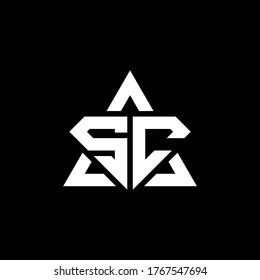SC monogram logo with diamond shape and triangle outline design template