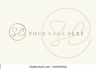 SC monogram.Signature style logo with letter s and letter c.Hand drawn lettering icon in rose gold metallic color isolated on light background.Intertwined initials in circular line emblem.