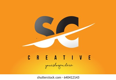 SC S C Letter Modern Logo Design with Swoosh Cutting the Middle Letters and Yellow Background.