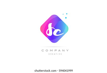 sc s c  pink blue rhombus abstract 3d alphabet company letter text logo hand writting written design vector icon template