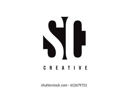 SC S C White Letter Logo Design with Black Square Vector Illustration Template.
