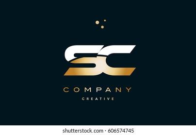 sc s c  white yellow gold golden metal metallic luxury alphabet company letter logo design vector icon template