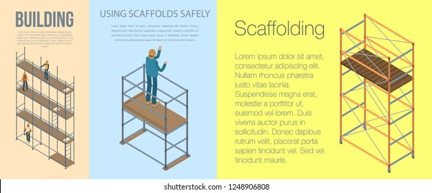Scaffolding banner set. Isometric set of scaffolding vector banner for web design
