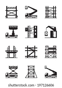 Scaffolding and construction cranes icon set - vector illustration