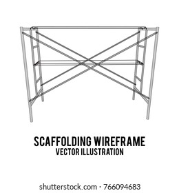 Scaffolding construction furniture wireframe blueprint. Linear outline illustration