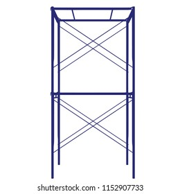 Scaffolding frame 2 floors Japanese standard type isolated on white background. Can be fill dimension or other safety standard by user. Use for construction content or scaffolding rental vendor.