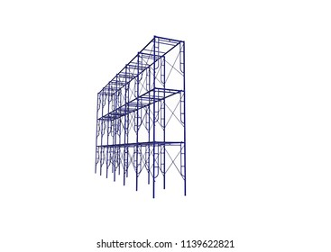 Scaffolding frame 3 floors Japanese standard type isolated on white background. Can be fill dimension or other safety standard by user. Use for construction content or scaffolding rental vendor.