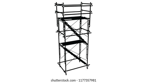 Scaffolding frame 3 floors Japanese standard type isolated on white background. Use for construction content or scaffolding rental vendor.