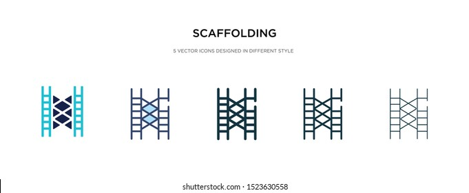 scaffolding icon in different style vector illustration. two colored and black scaffolding vector icons designed in filled, outline, line and stroke style can be used for web, mobile, ui