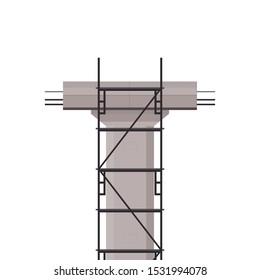 Scaffolding vector. Bridge pillar. Construction. Bridge posts under construction.