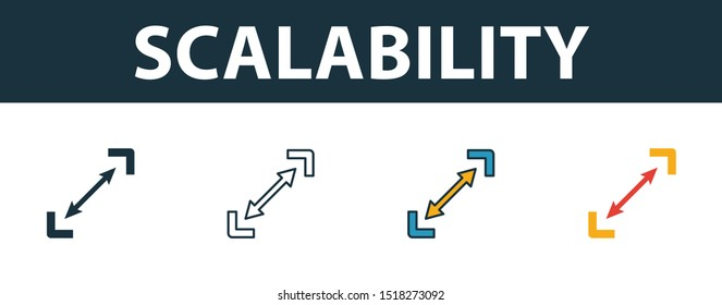 Scalability icon set. Premium simple element from startup icons collection. Set of scalability icon in filled, outline, colored and flat styles.