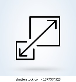 Scalability or scalable system line sign icon or logo. Scalability concept. Scalable or resize window app illustration.