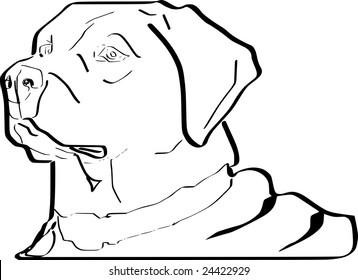 Scalable black and white sketch of Labrador Retriever