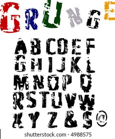 Scalable grunge alphabet font