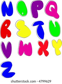 Scalable Juvenile bubble-letter alphabet