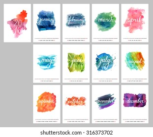 A scalable vector calendar for the year 2016. Each of the twelve months and the cover are presented on a corresponding bright watercolor texture. There is a place for text and logos.