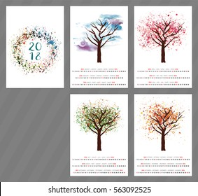 A scalable vector calendar for the year 2018 with a watercolor and vector drawing of a tree changing as the seasons change, with four pages and a cover with an abstract texture, with copyspace