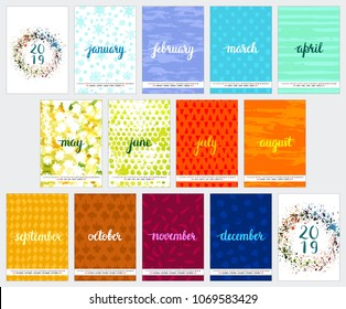 Scalable vector calendar for year 2019 with watercolor textures, representing each month's weather, brushpen lettering, cover and back cover, all on one page. Lots of space for text and logos