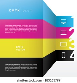 Scalable vector composition of infographics built with vertical colorful arrow shapes and cloud computing icon set - CMYK color version