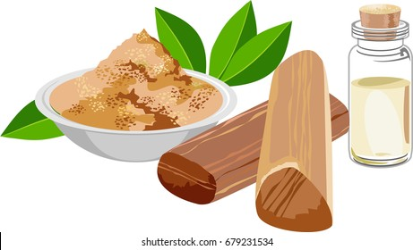 scalable Vector Illustration of Chandan or sandalwood powder with sticks, perfume or oil and green leaves. white background