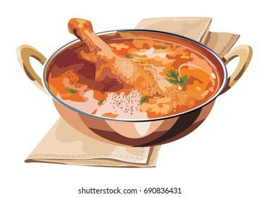 Scalable Vector illustration of Chicken curry OR masala with prominent leg piece served in karahi