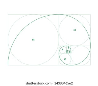 Scalable vector illustration of golden ratio with editable stroke