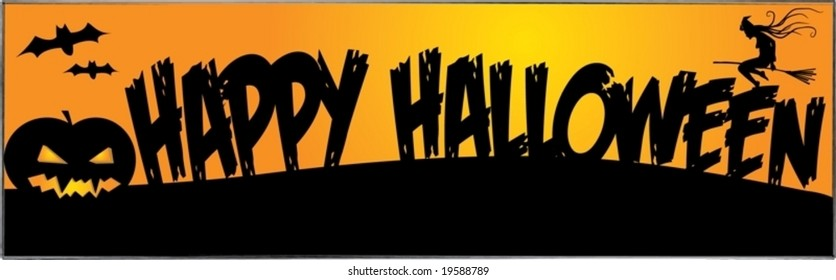 A scalable vector illustration of a Halloween banner with text, bats, pumpkin and flying witch