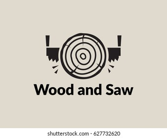 Scalable vector illustration, that consists of two-man saw and lumber (timber). Isolated icon logo, which you can use to screen (web, mobile app, video, etc.) and print (advertising, souvenir, etc.)
