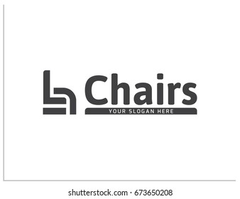 """Scalable vector illustration, that consists of text """"Chairs"""", """"your slogan here"""", and generalizing icon that can designate chair, armchair or sofa. Isolated logo, which you can use to screen and print"""