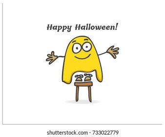"Scalable vector illustration, that consists of a cartoon child with big eyes with a bedsheet on his head, who is standing on a chair and trying to scare everyone and the inscription ""Happy Halloween"""