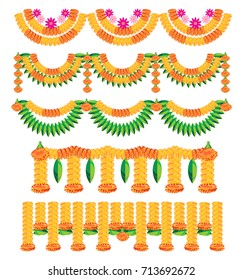 scalable vector illustration of variety of bunting, known as toran in hindi, made using colourful marigold or genda or zendu flower arrangement for Hindu or indian festival decoration