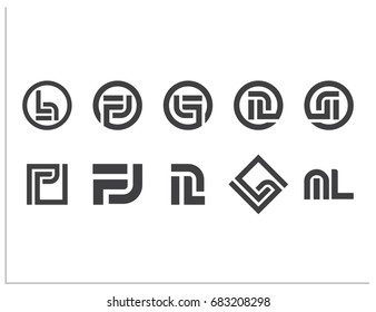 Scalable vector set of 10 icons, with hidden connected letters C, D, e, f, h, j, G, L, n, O, P, q, v. Isolated logos, for screen (web, mobile app, video) and print (corporate identity, advertising)