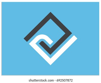 Scalable vector sign, containing rhomb with hidden connected letters C, D, e, G, L, n, O, P, v. Isolated logo, for screen (web, mobile app, video, etc.) and print (corporate identity, adv, etc.)