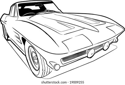 A scalable vector sketch of a classic American sports car