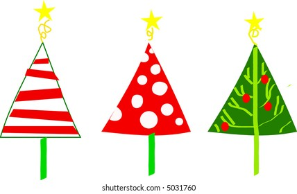 Scalable whimsical Christmas tree vectors
