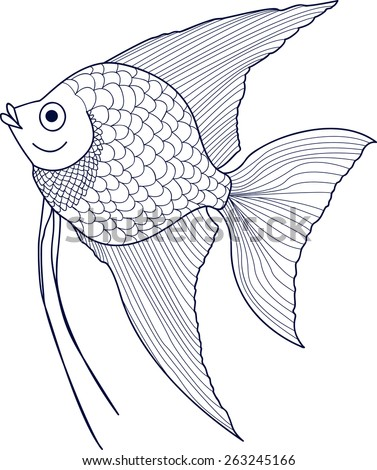 Scalar Sketch Aquarium Fish Stock Vector Royalty Free 263245166