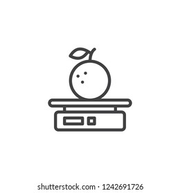 Scale with apple outline icon. linear style sign for mobile concept and web design. Weighing apples fruit simple line vector icon. Symbol, logo illustration. Pixel perfect vector graphics
