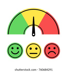 Scale with arrow from green to red and face icons. Evaluation icon. Colored scale of emotions. Measuring device sign. Vector illustration