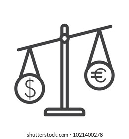 scale dolar and euro outline icon