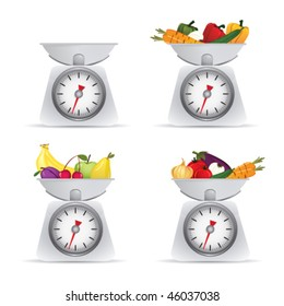 scale with fruits and vegetables